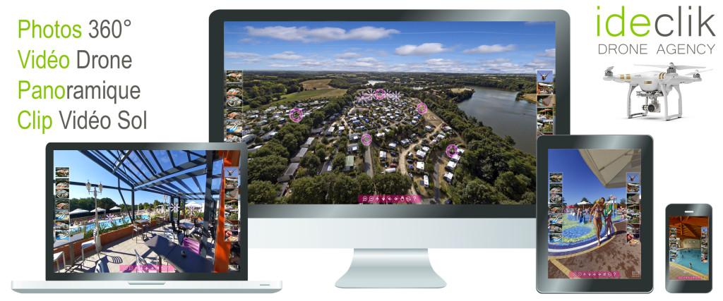 Visite virtuelle 360 aérienne par drone pour Camping HPA